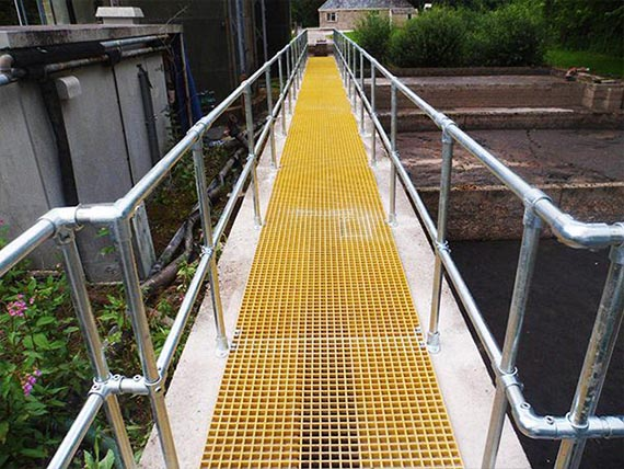 Yellow anti-slip GRP walkway