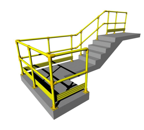 Digital drawing of stairs with GRP handrailing