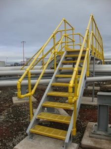 Modular GRP Handrail system on stairs